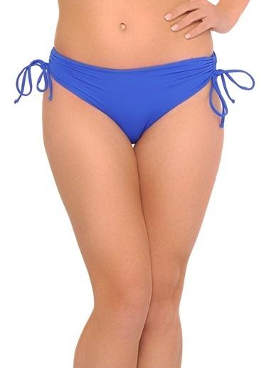 Reflections Mix Match Yandan Büzgülü Bağcıklı Düz Bikini Alt Saks